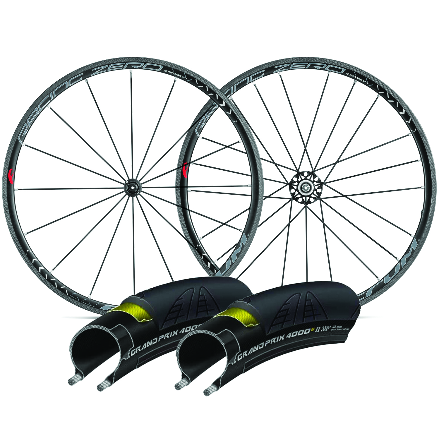 Fulcrum Racing Zero Carbon C17 Clincher Road Wheels With GP4000S II Tyres & Tubes