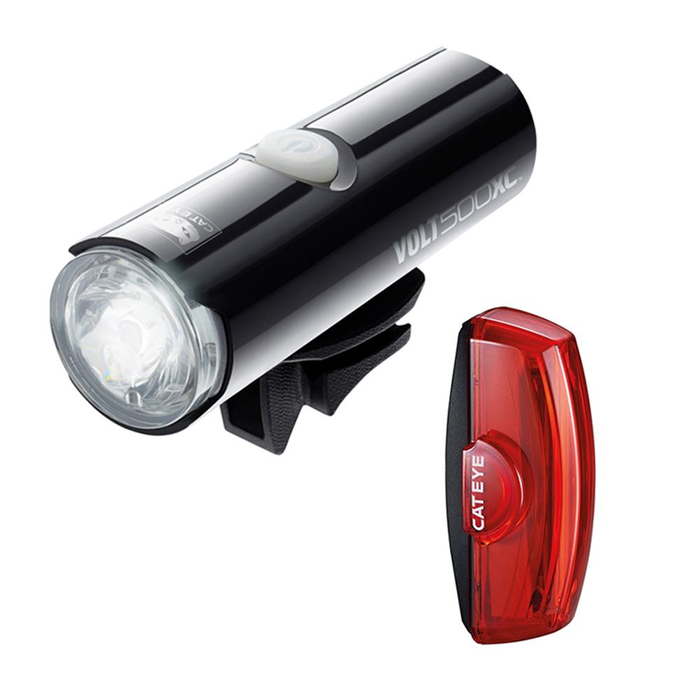 Cateye Volt 500 XC Front Light & Rapid X2 Rear USB Rechargeable Light Set