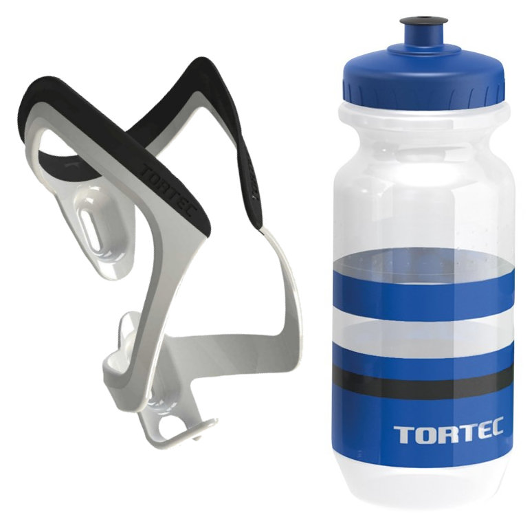 Tortec Air Bottle Cage With Tortec Jet Bottle - White & Blue