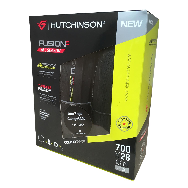 Pair Hutchinson Fusion 5 All Season 11 Storm TLR Folding Road Tyres & Tubeless Kit