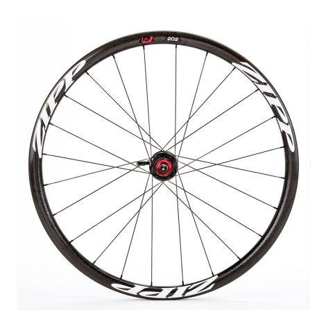 Zipp 202 Carbon Clincher Disc Brake Rear Wheel - Black / White Decal / Shimano / Quick Release / 6 Bolt / Rear / 10-11 Speed / C