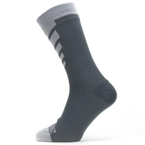 Image of Sealskinz Waterproof Warm Weather Mid Length Socks - Grey / Large
