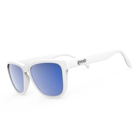 Image of Goodr Original OG Polarized Sunglasses - Iced by Yetis / White / Reflective Blue Lens