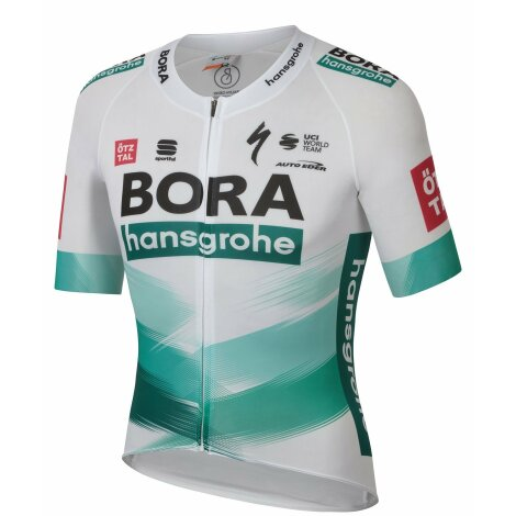 Sportful Bora Hansgrohe Bomber Short Sleeve Cycling Jersey - White Green TDF / 2XLarge