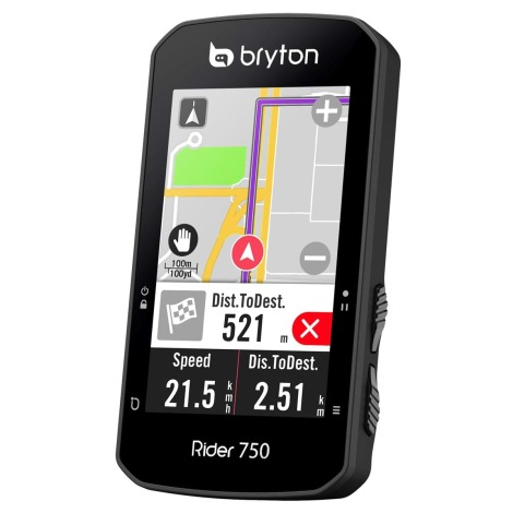 Image of Bryton Rider 750T GPS Cycle Computer Bundle - Black - With Speed/Cadence Combo & HR Sensors, Black