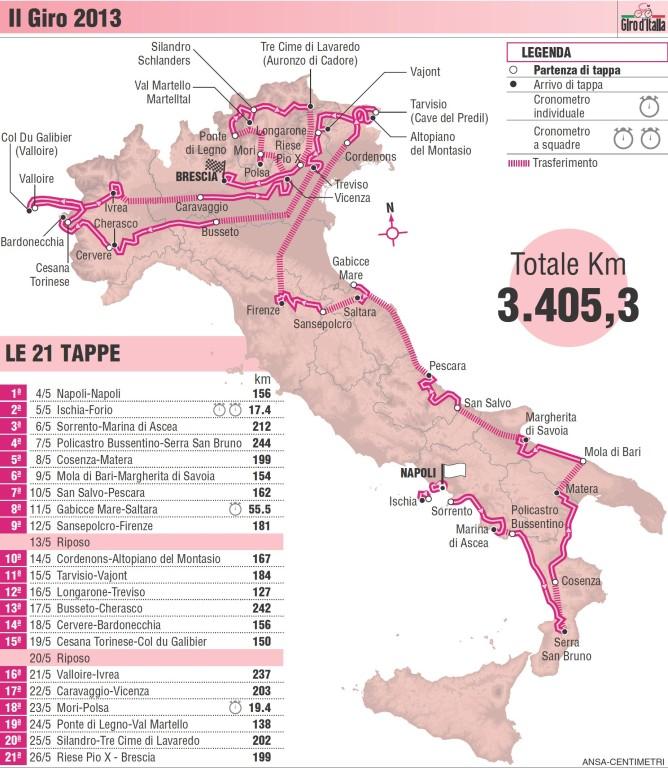 Giro d'Italia 2013 Route