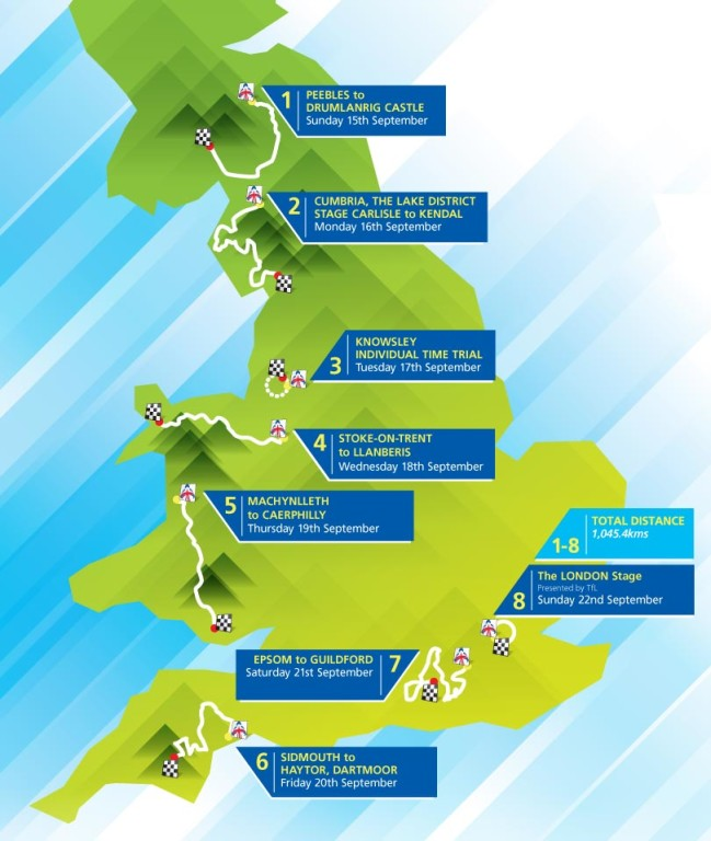 Tour of Britain - Route Map