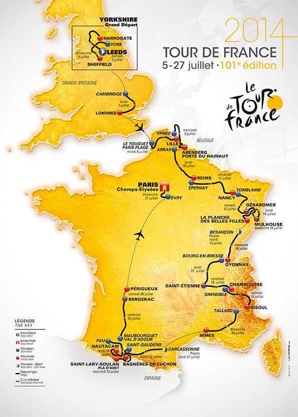 Tour de France 2014 Route Map
