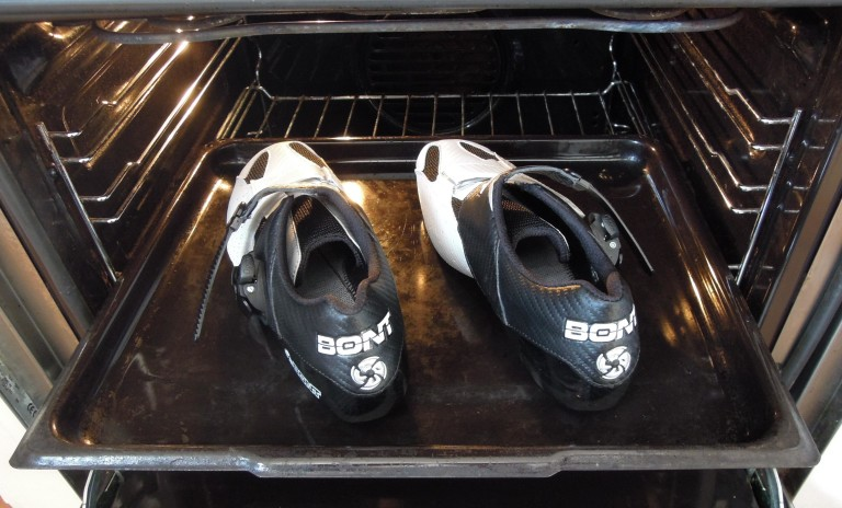 bont riot shoes going in the oven