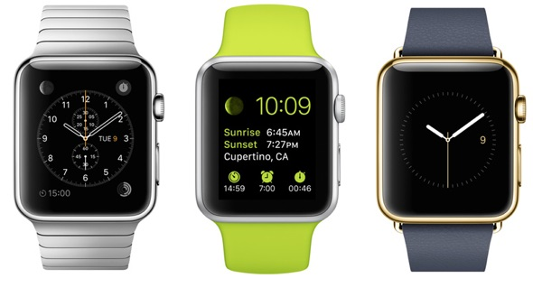 L-to-R: Apple Watch, Apple Watch Sport and Apple Watch Edition