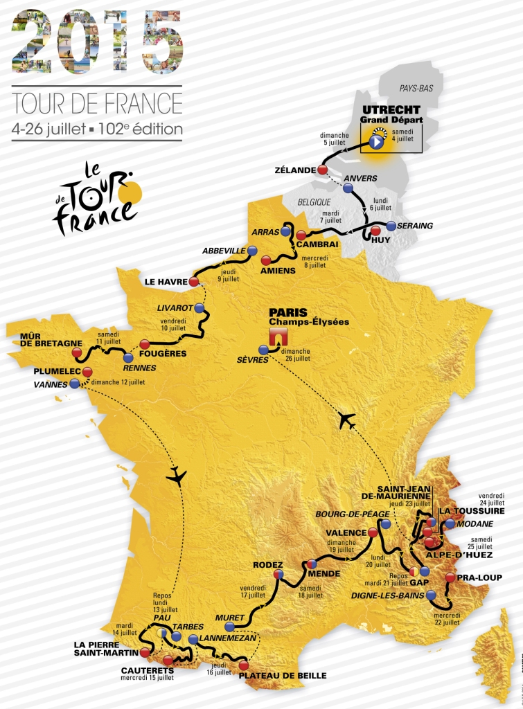 tour de france 2015 route map