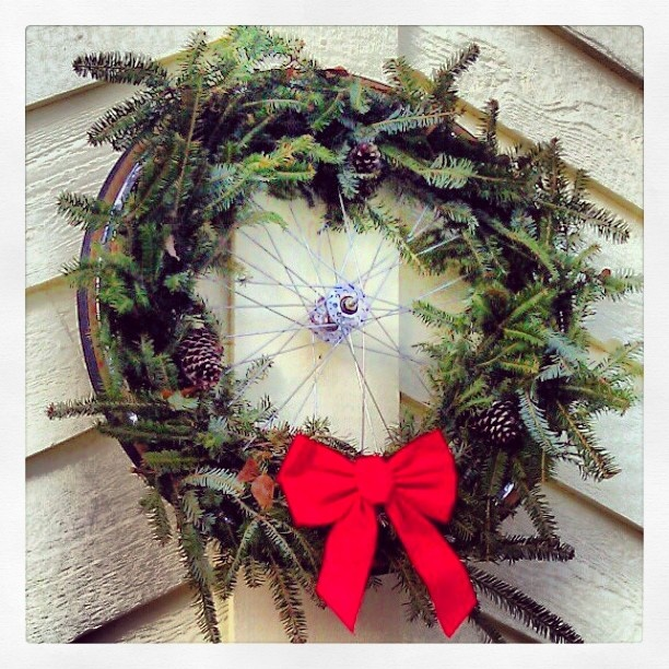 bicycle wheel christmas wreath