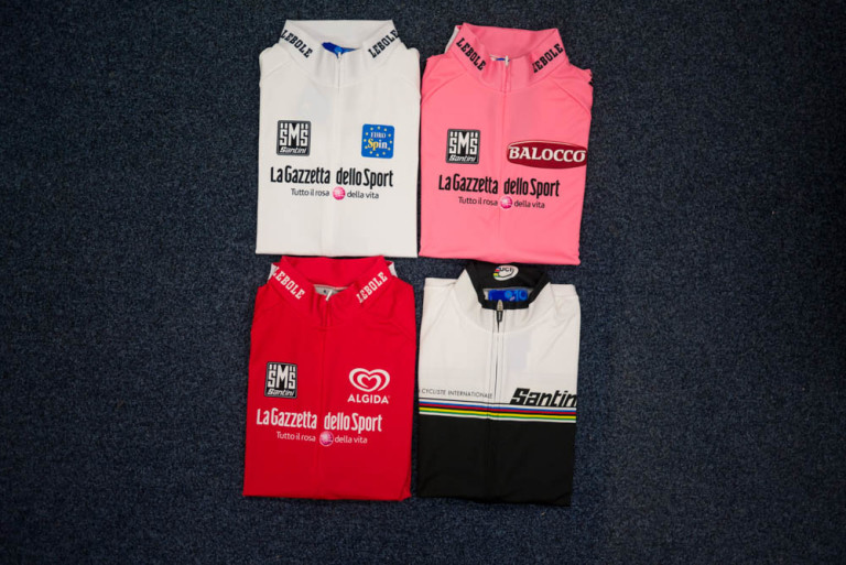 Santini Giro d'Italia Leaders jerseys (plus World Champ jersey)
