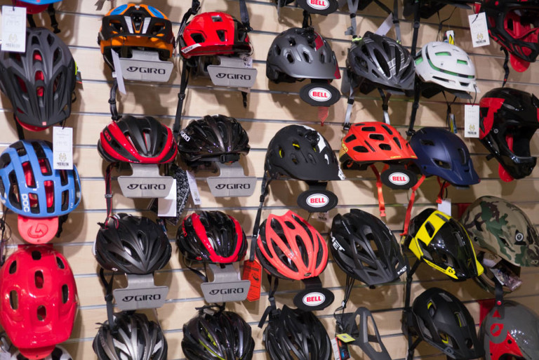 The wall of helmets