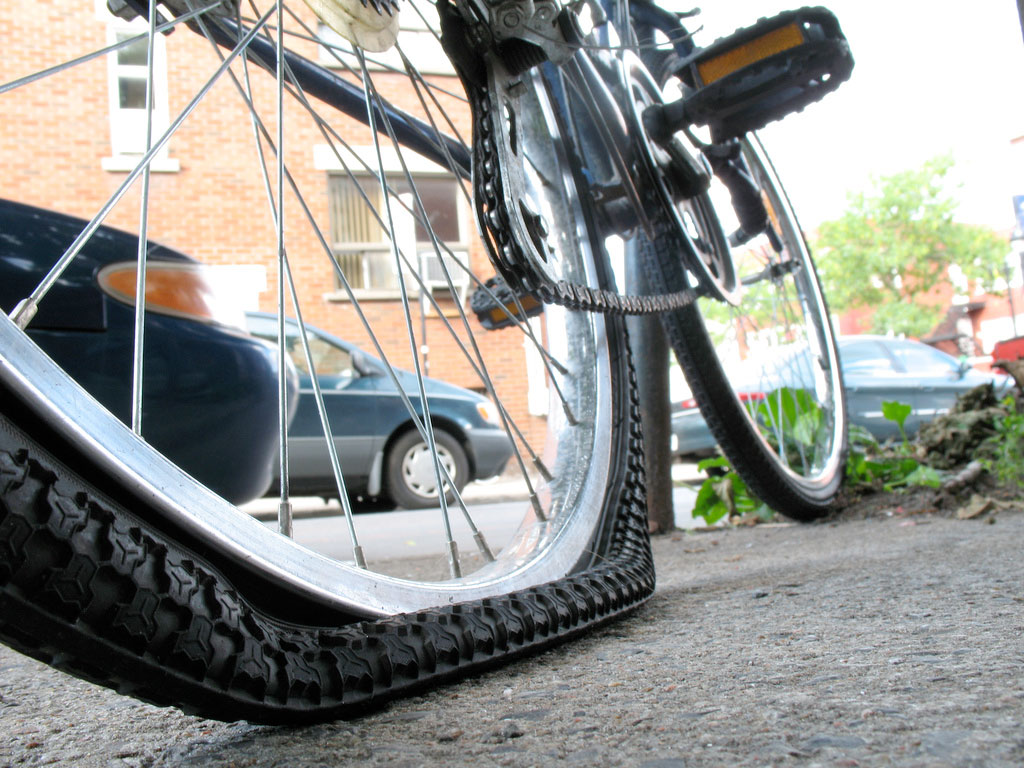 flat bicycle tyre