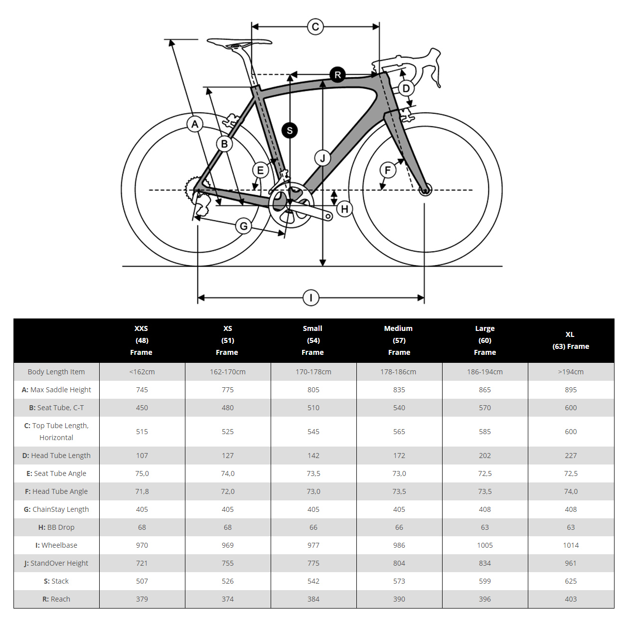 Merlin Nitro Sl Carbon Road Bike 2018 Cycles Bicycle Frame Diagram The Of Is These Sizes Are A Guideline Only If You Unsure Please Contact Our Customer Service Team For Assistance Sales